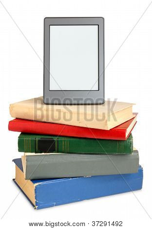 Ebook On Pile Of Old Books Isolated On White Background