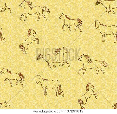 Seamless background with stylized horses