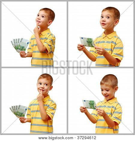 Happy Child Holding Money In Hand Isolated On White Background