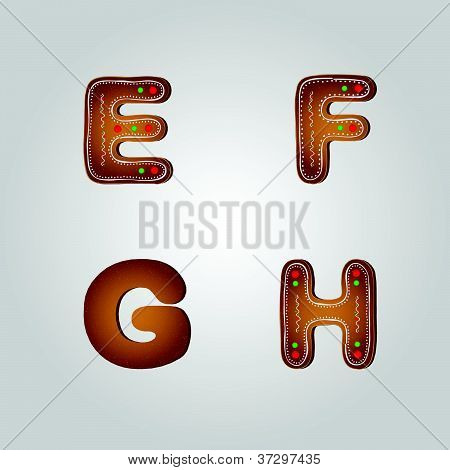 Gingerbread font e to h