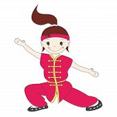 stock photo of friendship belt  - Vector illustration of cartoon  kung fu girl - JPG