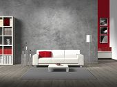 stock photo of sofa  - modern fictitious living room with white sofa and copy space for your own image - JPG