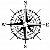 stock photo of compass rose  - Black compass rose  - JPG
