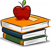 Illustration of an Apple Resting on a Pile of Books