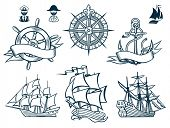 stock photo of wind wheel  - Sailing ships emblems Iconset - JPG