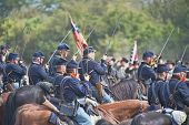 SHARPSBURG, MARYLAND - SEPTEMBER 16: Union cavalry at the 150th anniversary of the civil war battle