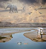 image of gullible  - View of a Flying Elephant in the fantastic city - JPG