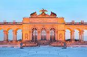 image of schoenbrunn  - Center of Glorietta at Schonbrunn Park at winter evening in Vienna - JPG