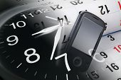 stock photo of handphone  - Composite of Smart Phone with Calendar and Clock - JPG