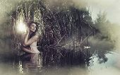 picture of green algae  - Beautiful fantasy woman in water - JPG