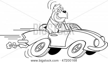 Cartoon Gorilla Driving a Car (Black and White Line Art)