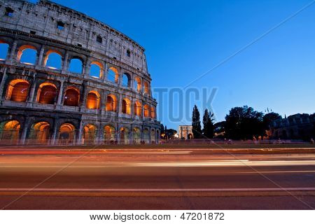 Light Trail at Colosseum in Twilight, Rome Italy