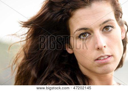Natural Sad Woman Portrait