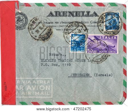 An Old Used Italian Envelope (campaign Poster)  And Stamps, Issued By The Italian Society Of Citric