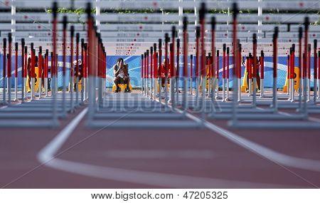 Track Hurdles Man Start Canada