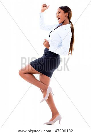 Successful business woman celebrating - isolated over white background