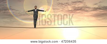 Conceptual concept of 3D businessman or man in crisis walking in balance on rope over sunset sky background banner