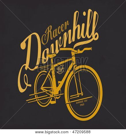 illustration vector vintage retro race rider bicycle