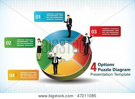 Four sided puzzle presentation template with business people silhouettes and text fields used in commercial designs