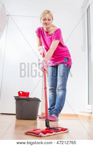 Female Woman Cleaning Home