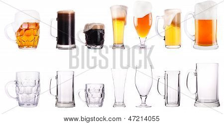 Fresh Beer Collection Full And Empty Glasses
