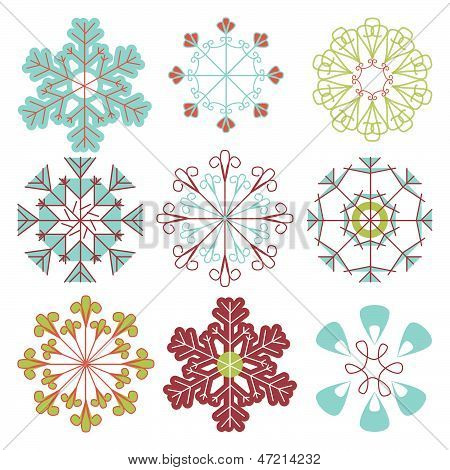 Vector Set of Mod Snowflakes