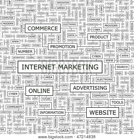 INTERNET MARKETING. Word cloud concept illustration.