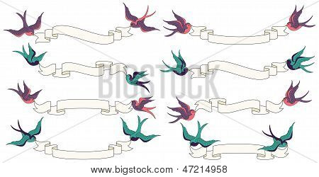 Swallows Flying with Banners Vector Set