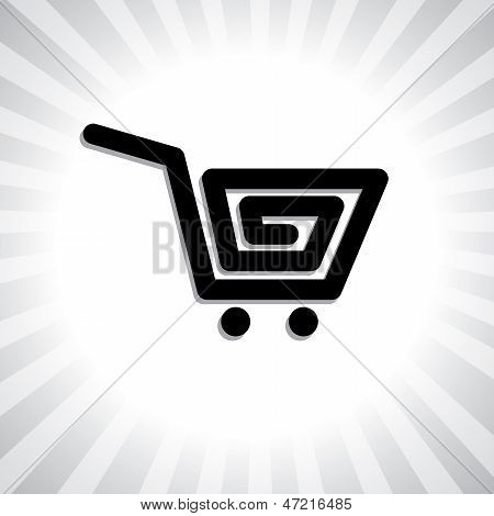 Concept Vector Graphic- Creative Online Shopping Cart Symbol(icon).