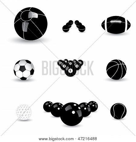 Concept Vector Graphic- Black & White Sports Balls Icons(symbols)