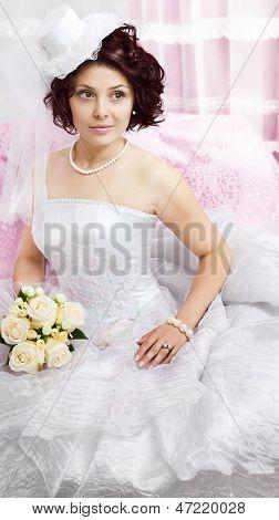 Portrait of young brunette bride