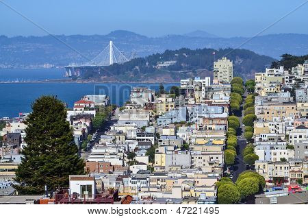Top view of Lombard street neighborhood in San Francisco