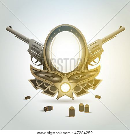 Revolver Gun Patron Weapon Sheriff Element Emblem
