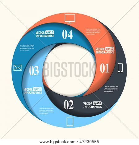 Abstract paper infographics in a circle shape. Vector eps10 illustration