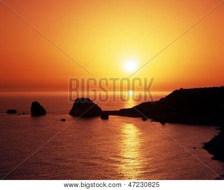 Aphrodites rock at sunset, Cyprus.