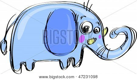 Cartoon Baby Elephant In A Naif Childish Drawing Style