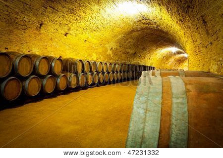 Antique Wine Cellar With Wooden Barrels