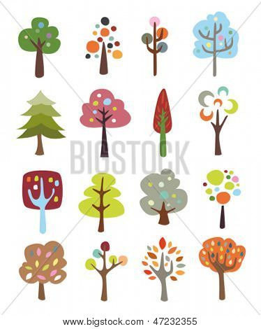 Collection of colorful cute trees