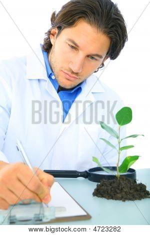 Serious Scientist Writing Research Report