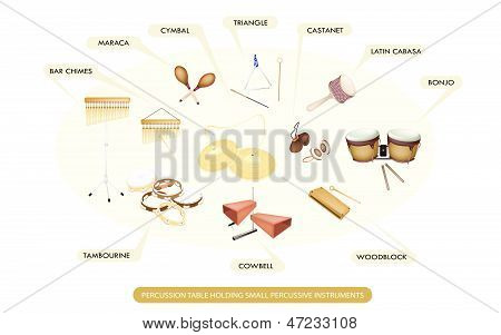 Set Of Percussion Instrument For Symphonic Band