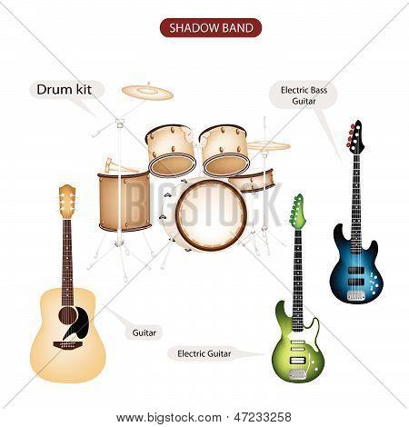 Eine Reihe von Shadow Band Musik Equipment