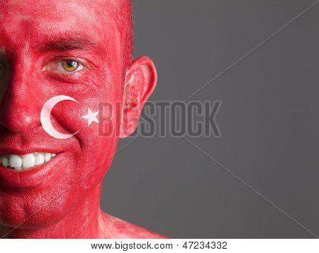 Face Flag Turkey Smiling Man