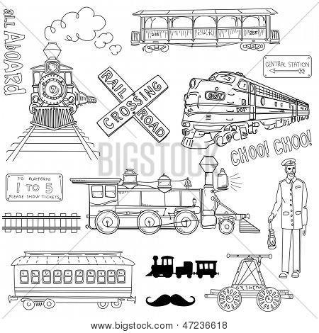 Colección de trenes vintage y garabatos de ferrocarril