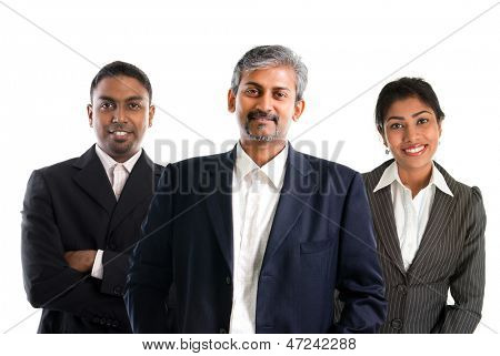 Indian business team.  Asian Indian businessmen and businesswoman in group isolated on white. Teamwork concept. Good looking Indian model.