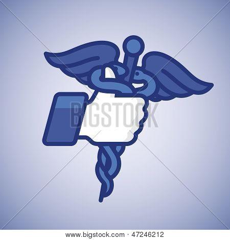Like/Thumbs hasta el icono con el símbolo médico del caduceo