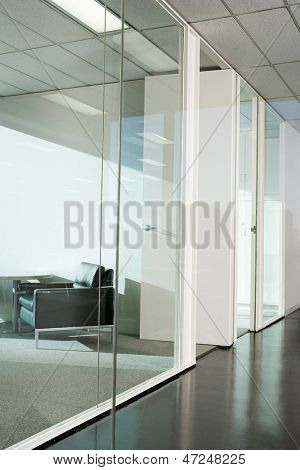 Office interior with glass partition