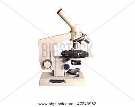 Microscope on a white background.