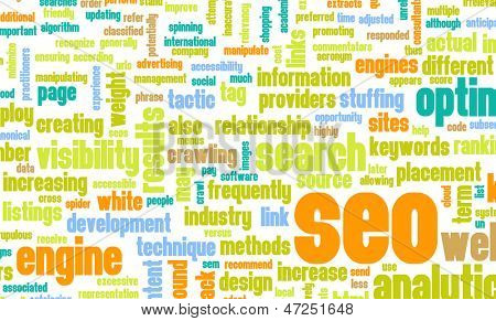 Search Engine Optimization or SEO Word Cloud