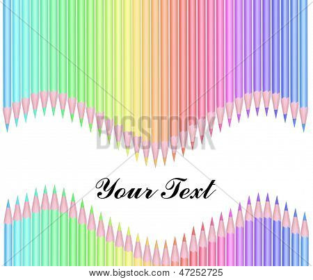 Colour Pencils Isolated On White Background With Text