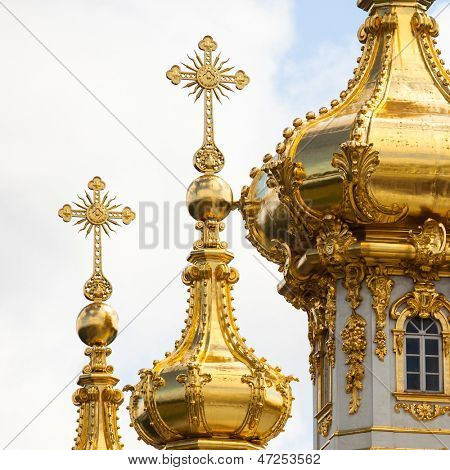 Closeup of golden cupola in Summer Gardens, Peterhof, Russia